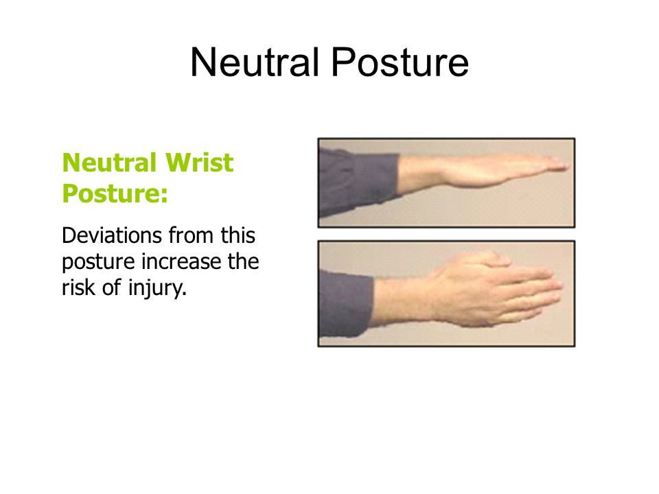Neutral Posture Neutral Wrist Posture: Deviations from this posture increase the risk of injury.