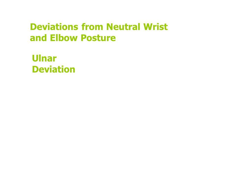 Deviations from Neutral Wrist and Elbow Posture Ulnar Deviation