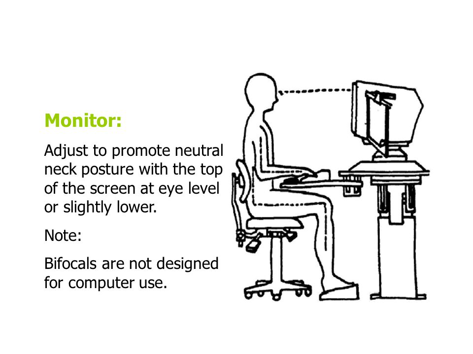 Monitor: Adjust to promote neutral neck posture with the top of the screen at eye level or slightly lower.