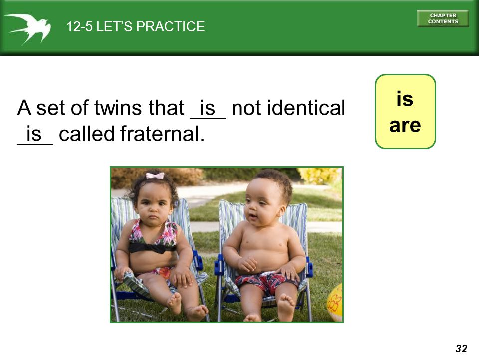 32 12-5 LET'S PRACTICE is are A set of twins that ___ not identical ___ called fraternal. is