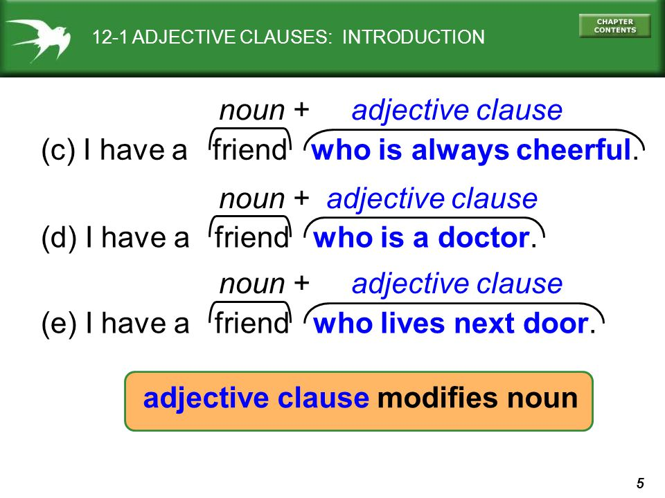 5 11-10 CPITALIZATION 12-1 ADJECTIVE CLAUSES: INTRODUCTION (c) I have a friend who is always cheerful. noun + adjective clause adjective clause modifi