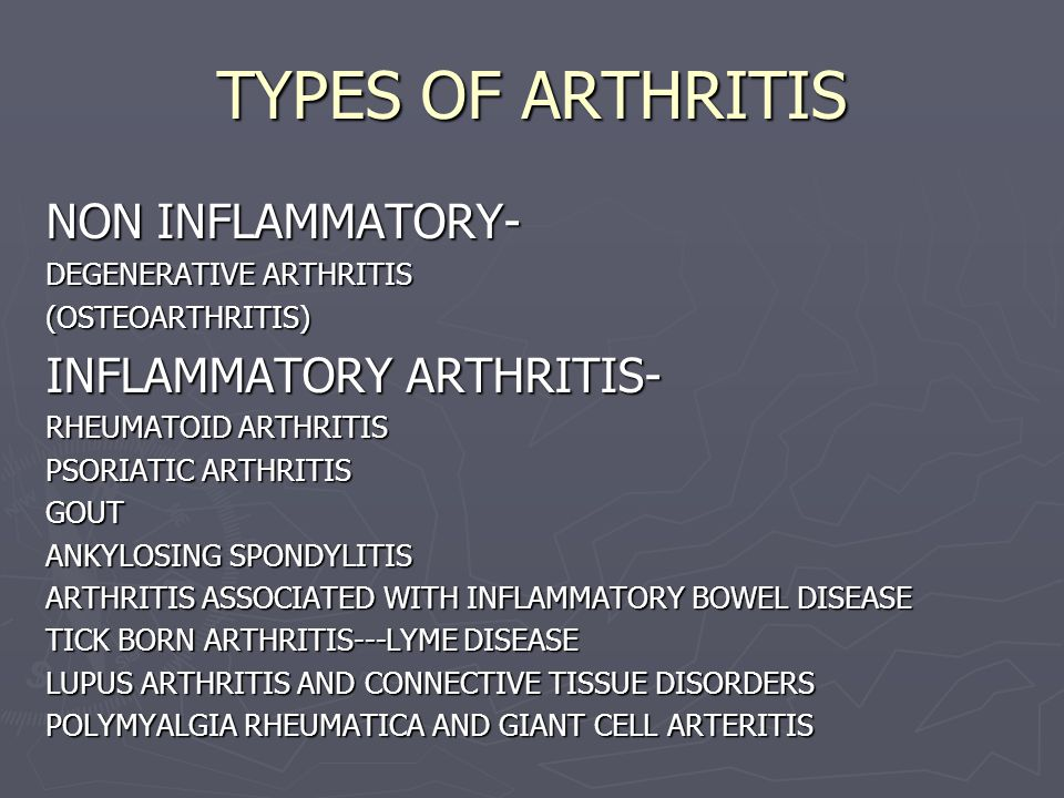 TYPES OF ARTHRITIS NON INFLAMMATORY- DEGENERATIVE ARTHRITIS (OSTEOARTHRITIS) INFLAMMATORY ARTHRITIS- RHEUMATOID ARTHRITIS PSORIATIC ARTHRITIS GOUT ANK