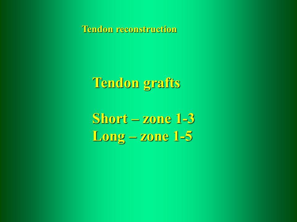 Tendon reconstruction Tendon grafts Short – zone 1-3 Long – zone 1-5