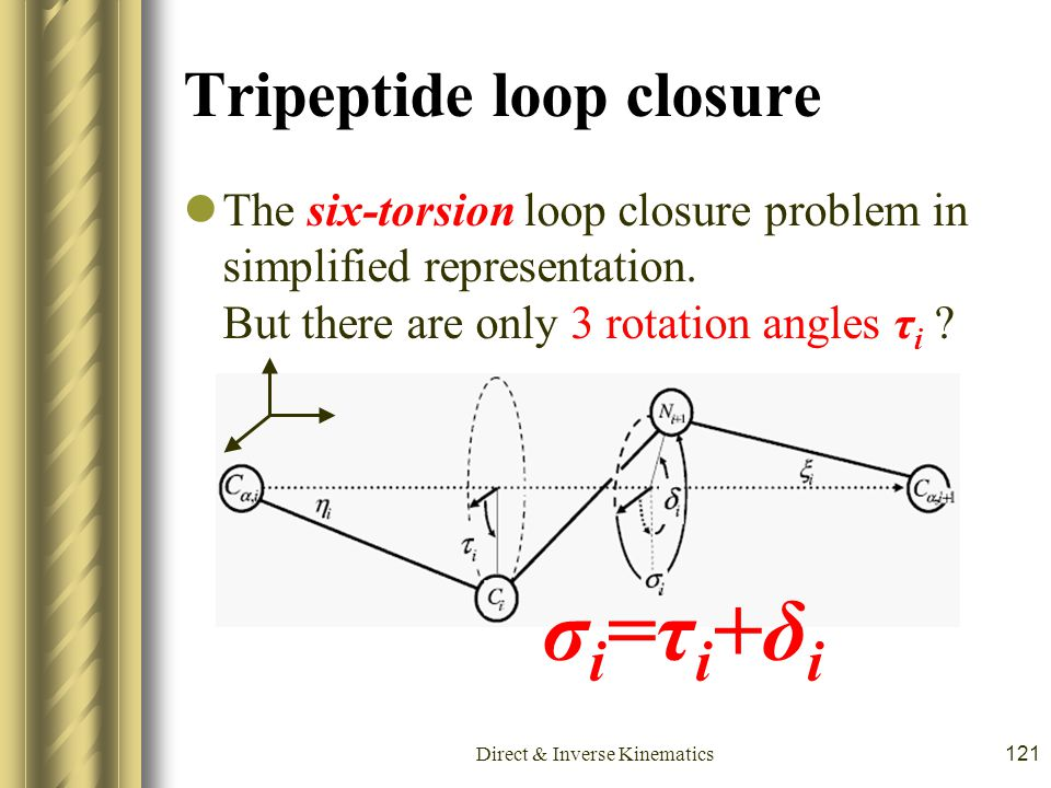 Direct & Inverse Kinematics121 Tripeptide loop closure The six-torsion loop closure problem in simplified representation. But there are only 3 rotatio