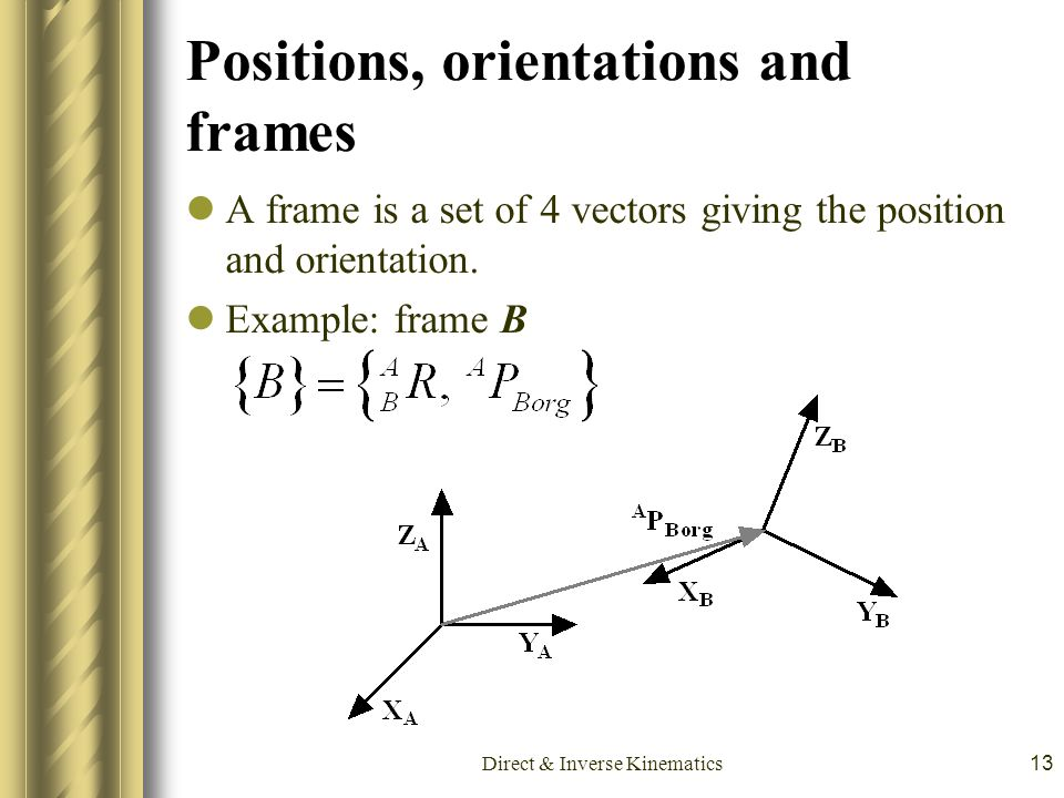Direct & Inverse Kinematics13 Positions, orientations and frames A frame is a set of 4 vectors giving the position and orientation. Example: frame B