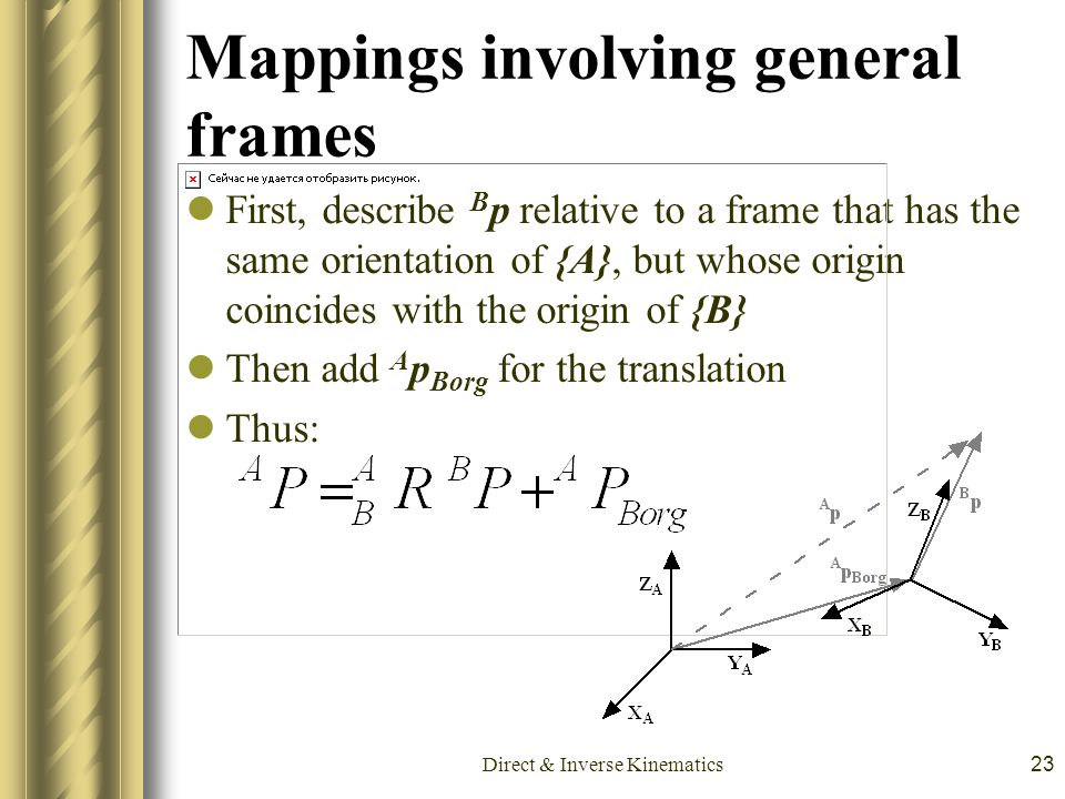 Direct & Inverse Kinematics23 Mappings involving general frames First, describe B p relative to a frame that has the same orientation of {A}, but whos