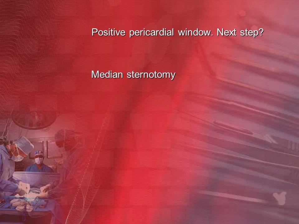 Positive pericardial window. Next step? Median sternotomy