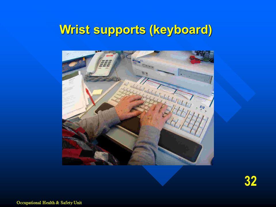 32 Wrist supports (keyboard) Occupational Health & Safety Unit