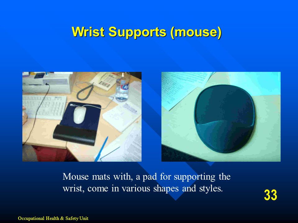 33 Wrist Supports (mouse) Occupational Health & Safety Unit Mouse mats with, a pad for supporting the wrist, come in various shapes and styles.