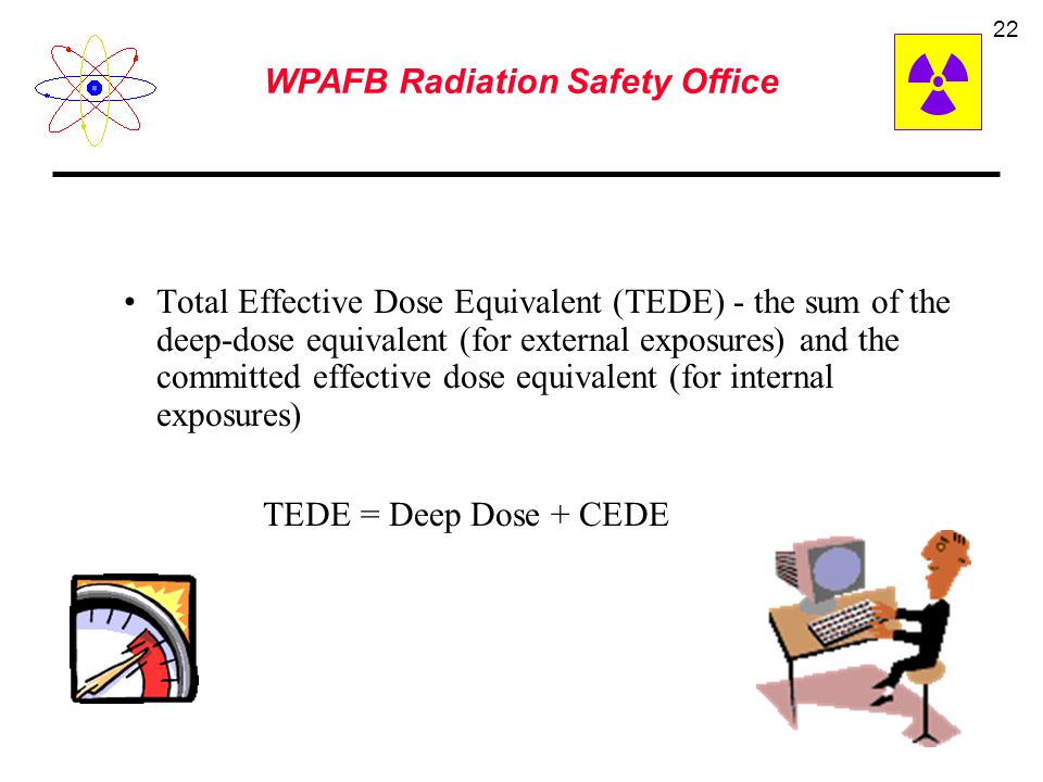 WPAFB Radiation Safety Office 21 Committed Dose Equivalent (H T,50 ) - the dose equivalent to organs or tissues of reference (T) that will be received