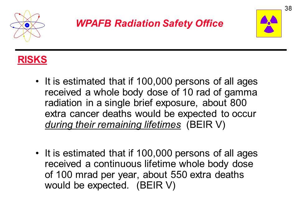 WPAFB Radiation Safety Office 37 Source of Radiation (excludes indoor radon) 1. Cosmic Radiation: 40 mrem a sea level (Add 1 mrem for each 100 feet el