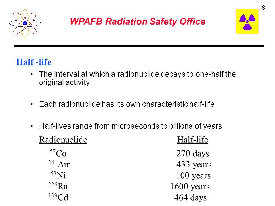 7 curie (Ci) – The activity of 1 gram of 226 Ra – 3.7 x 10 10 disintegrations per second (dps) becquerel – one disintegration per second (dps) one dps