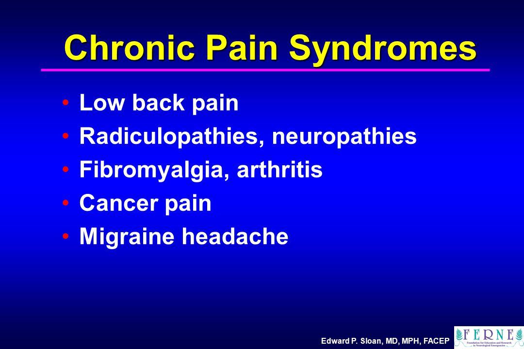 Edward P. Sloan, MD, MPH, FACEP Chronic Pain Syndromes Low back pain Radiculopathies, neuropathies Fibromyalgia, arthritis Cancer pain Migraine headac