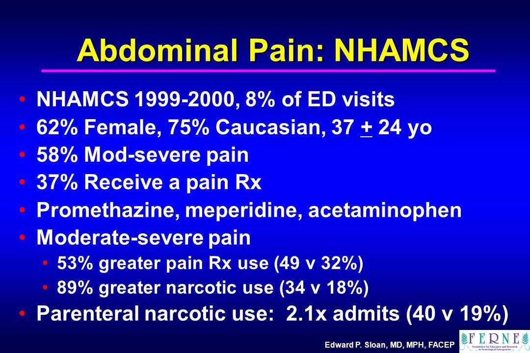 Edward P. Sloan, MD, MPH, FACEP Abdominal Pain: NHAMCS NHAMCS 1999-2000, 8% of ED visits 62% Female, 75% Caucasian, 37 + 24 yo 58% Mod-severe pain 37%