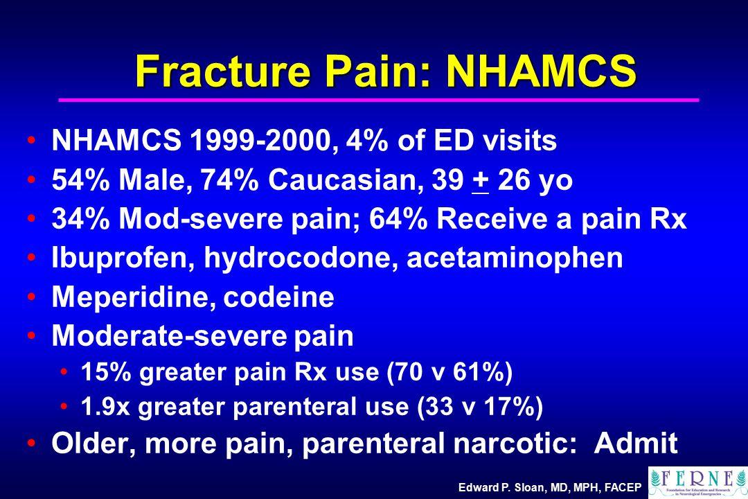 Edward P. Sloan, MD, MPH, FACEP Fracture Pain: NHAMCS NHAMCS 1999-2000, 4% of ED visits 54% Male, 74% Caucasian, 39 + 26 yo 34% Mod-severe pain; 64% R