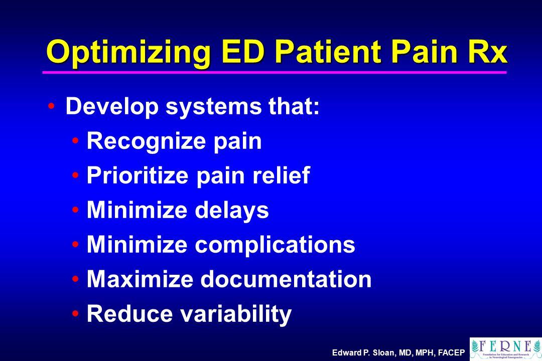 Edward P. Sloan, MD, MPH, FACEP Optimizing ED Patient Pain Rx Develop systems that: Recognize pain Prioritize pain relief Minimize delays Minimize com