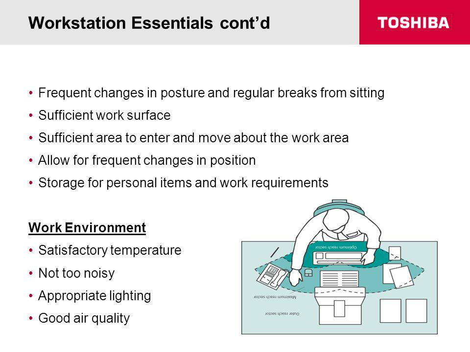 Workstation Essentials cont'd Frequent changes in posture and regular breaks from sitting Sufficient work surface Sufficient area to enter and move ab