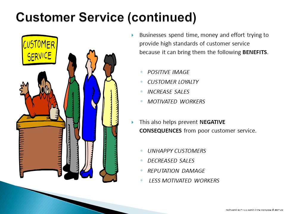 N4/5 Admin & IT – 1.1 Admin in the Workplace © BEST Ltd  Businesses spend time, money and effort trying to provide high standards of customer service