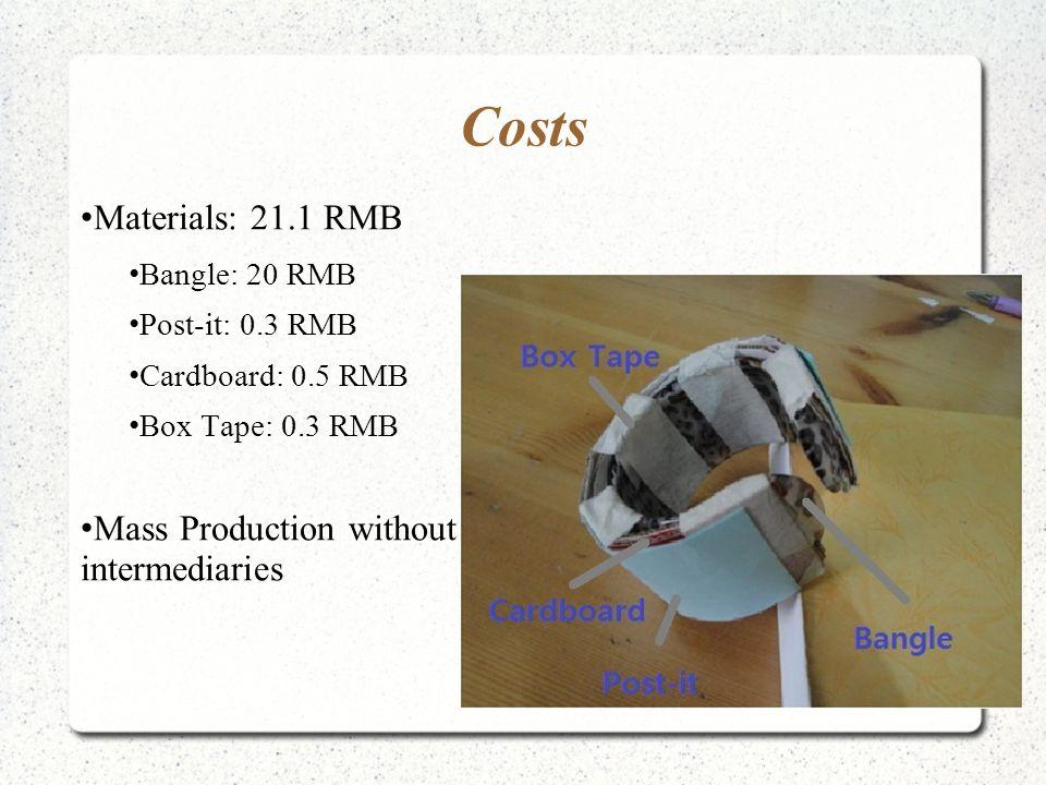 Costs Materials: 21.1 RMB Bangle: 20 RMB Post-it: 0.3 RMB Cardboard: 0.5 RMB Box Tape: 0.3 RMB Mass Production without intermediaries
