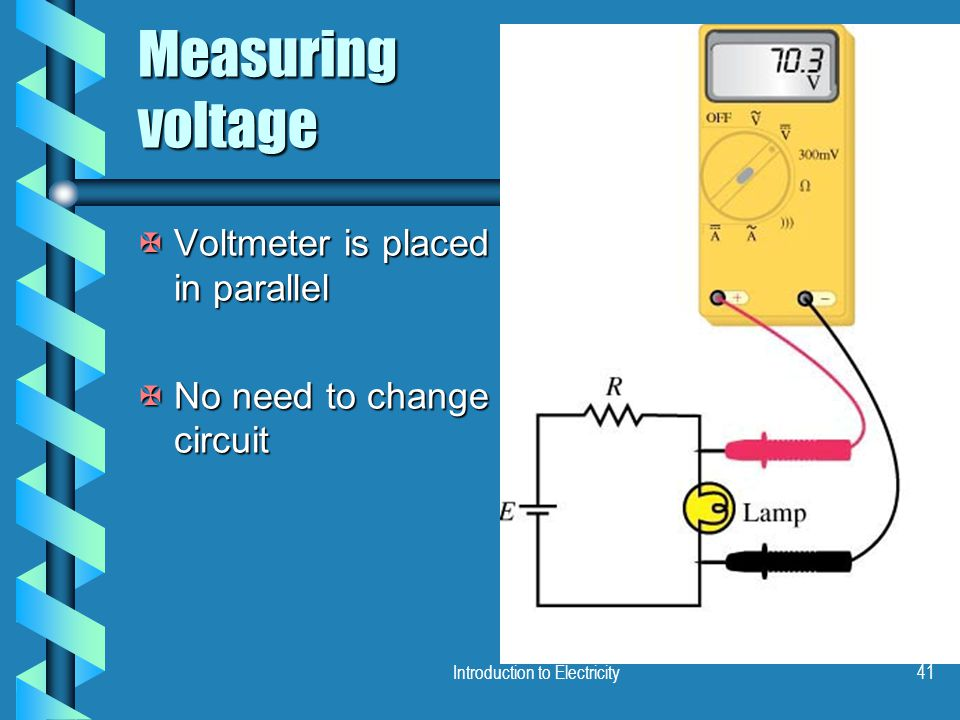 Introduction to Electricity41 Measuring voltage XVoltmeter is placed in parallel XNo need to change circuit