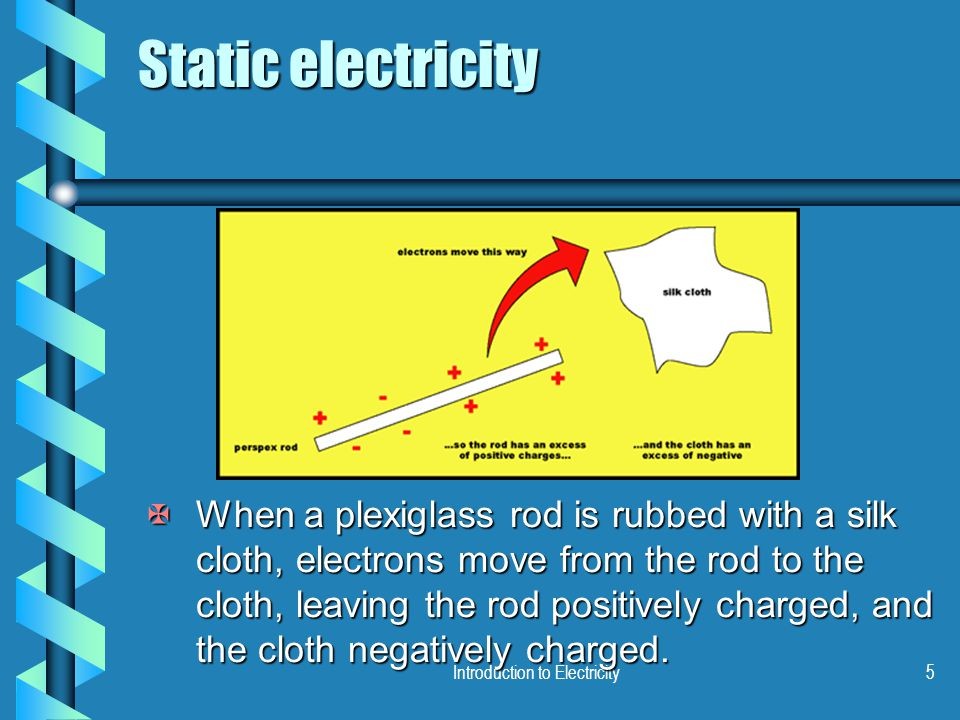 Introduction to Electricity5 Static electricity XWhen a plexiglass rod is rubbed with a silk cloth, electrons move from the rod to the cloth, leaving