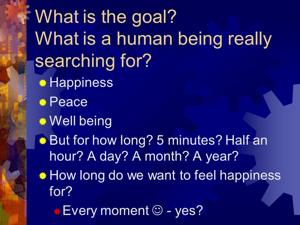 What is the goal. What is a human being really searching for.