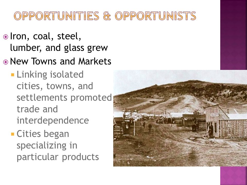  Iron, coal, steel, lumber, and glass grew  New Towns and Markets  Linking isolated cities, towns, and settlements promoted trade and interdependen