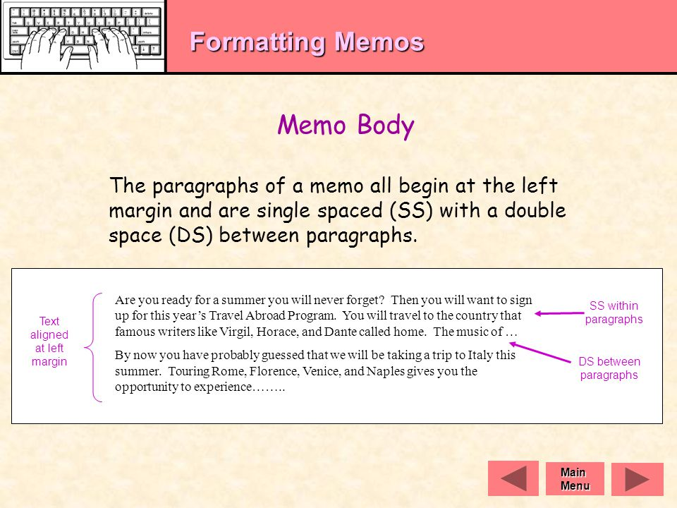 Formatting Memos The Memo Heading Includes:   Who the memo is being sent to (TO:)   Who the memo is from (FROM:)   The date the memo is sent (DATE:)   What the memo is about (SUBJECT:) TO: Foreign Language Department Students FROM: Mary Seville, Travel Abroad Coordinator DATE: November 2, 2005 SUBJECT: OPEN HOUSE Headings are keyed using all caps at the left margin and are double spaced.