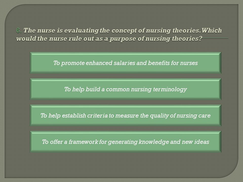 To help establish criteria to measure the quality of nursing care To help build a common nursing terminology To promote enhanced salaries and benefits for nurses To offer a framework for generating knowledge and new ideas