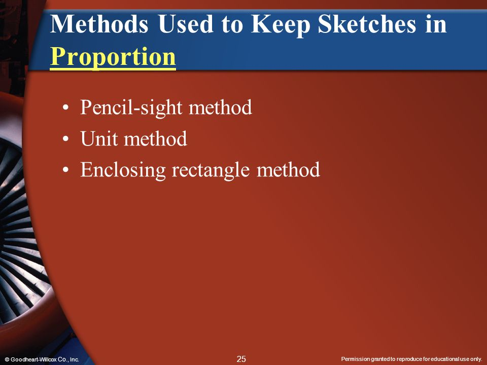 Permission granted to reproduce for educational use only. 25 © Goodheart-Willcox Co., Inc. Methods Used to Keep Sketches in Proportion Proportion Penc