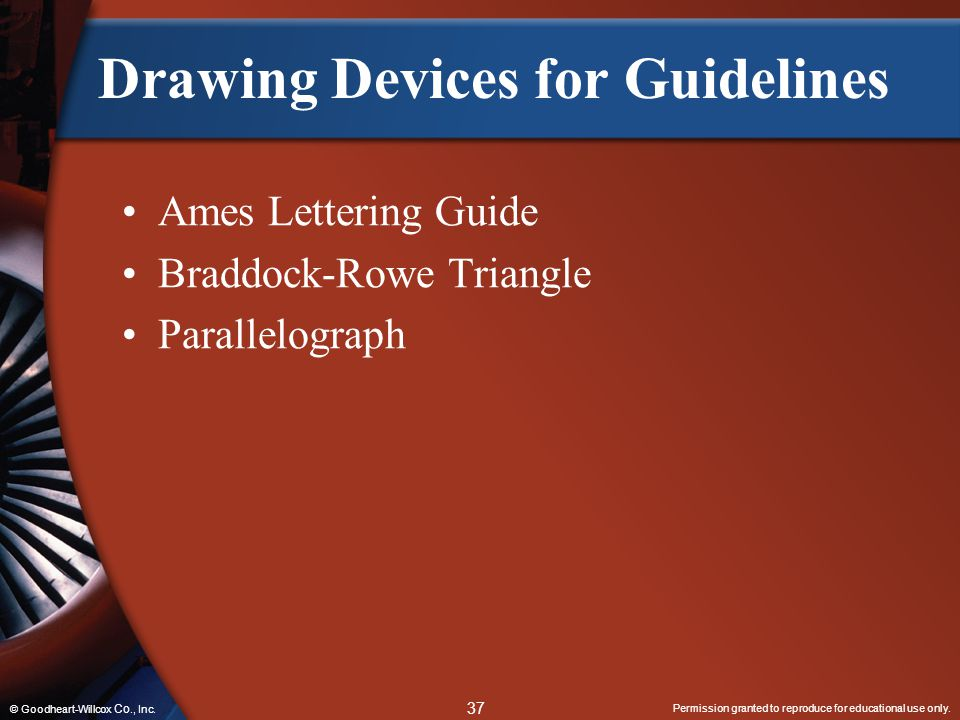 Permission granted to reproduce for educational use only. 37 © Goodheart-Willcox Co., Inc. Drawing Devices for Guidelines Ames Lettering Guide Braddoc