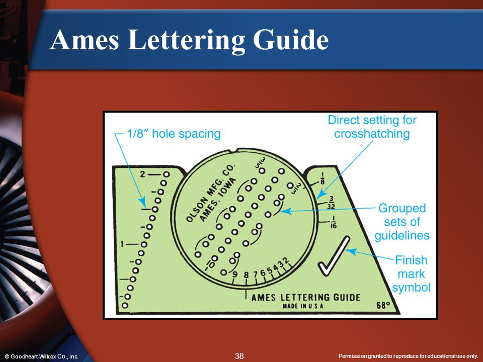 Permission granted to reproduce for educational use only. 38 © Goodheart-Willcox Co., Inc. Ames Lettering Guide
