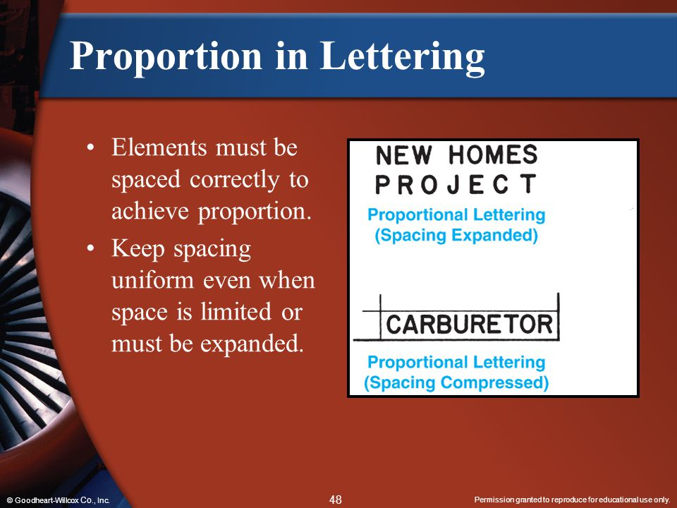 Permission granted to reproduce for educational use only. 48 © Goodheart-Willcox Co., Inc. Proportion in Lettering Elements must be spaced correctly t