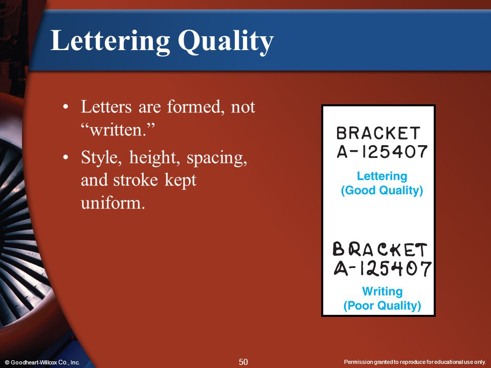 """Permission granted to reproduce for educational use only. 50 © Goodheart-Willcox Co., Inc. Lettering Quality Letters are formed, not """"written."""" Style,"""