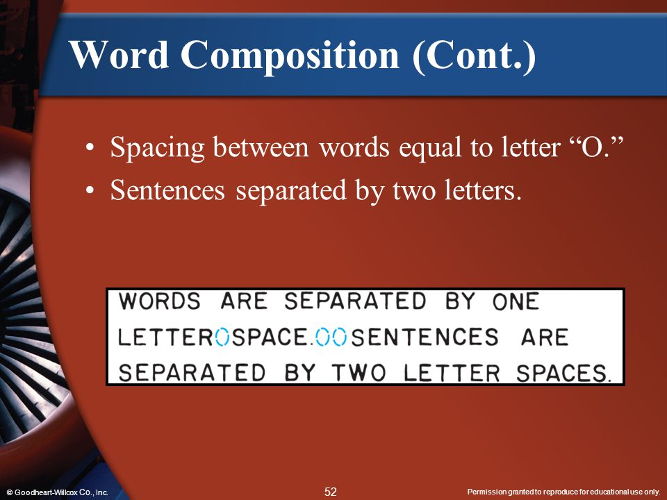 Permission granted to reproduce for educational use only. 52 © Goodheart-Willcox Co., Inc. Word Composition (Cont.) Spacing between words equal to let