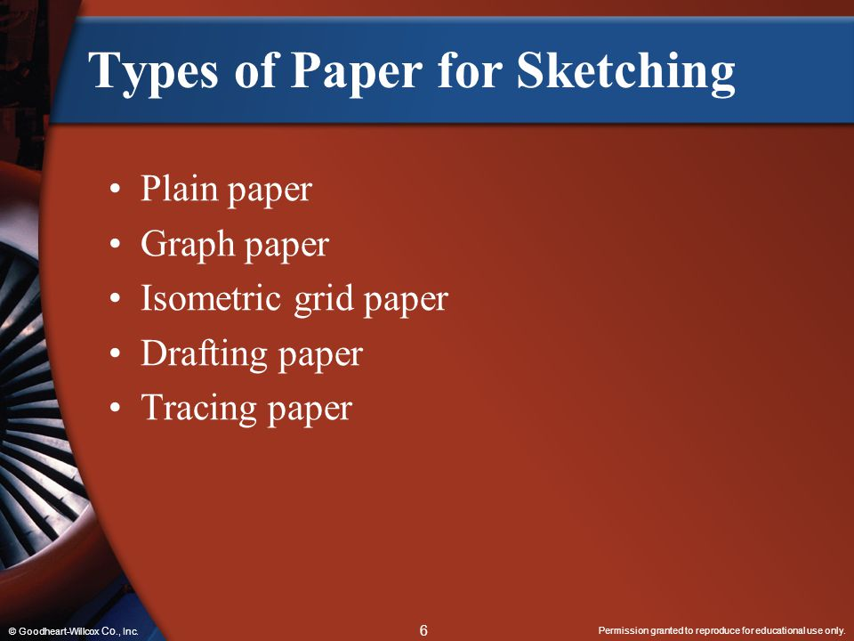 Permission granted to reproduce for educational use only. 6 © Goodheart-Willcox Co., Inc. Types of Paper for Sketching Plain paper Graph paper Isometr