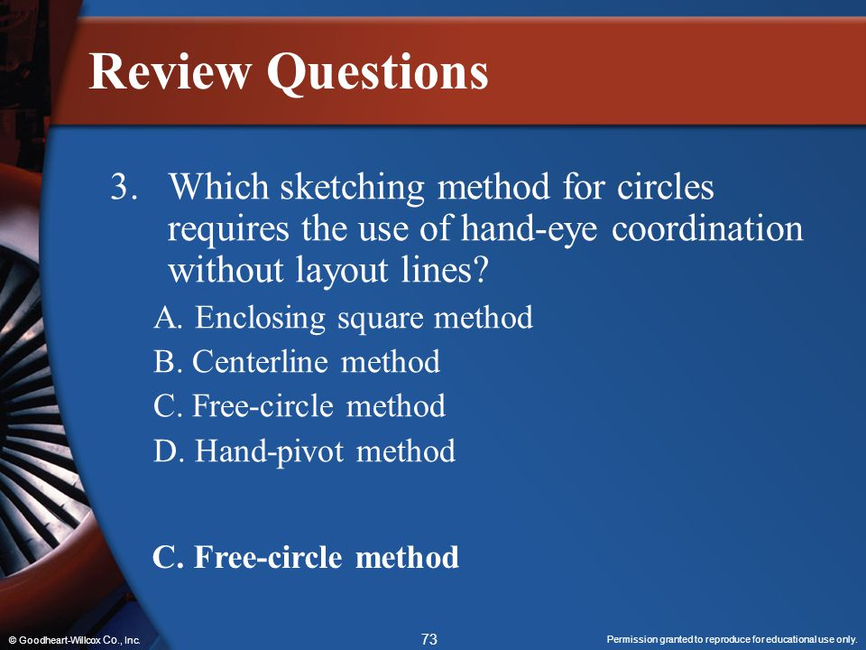 Permission granted to reproduce for educational use only. 73 © Goodheart-Willcox Co., Inc. Review Questions 3.Which sketching method for circles requi