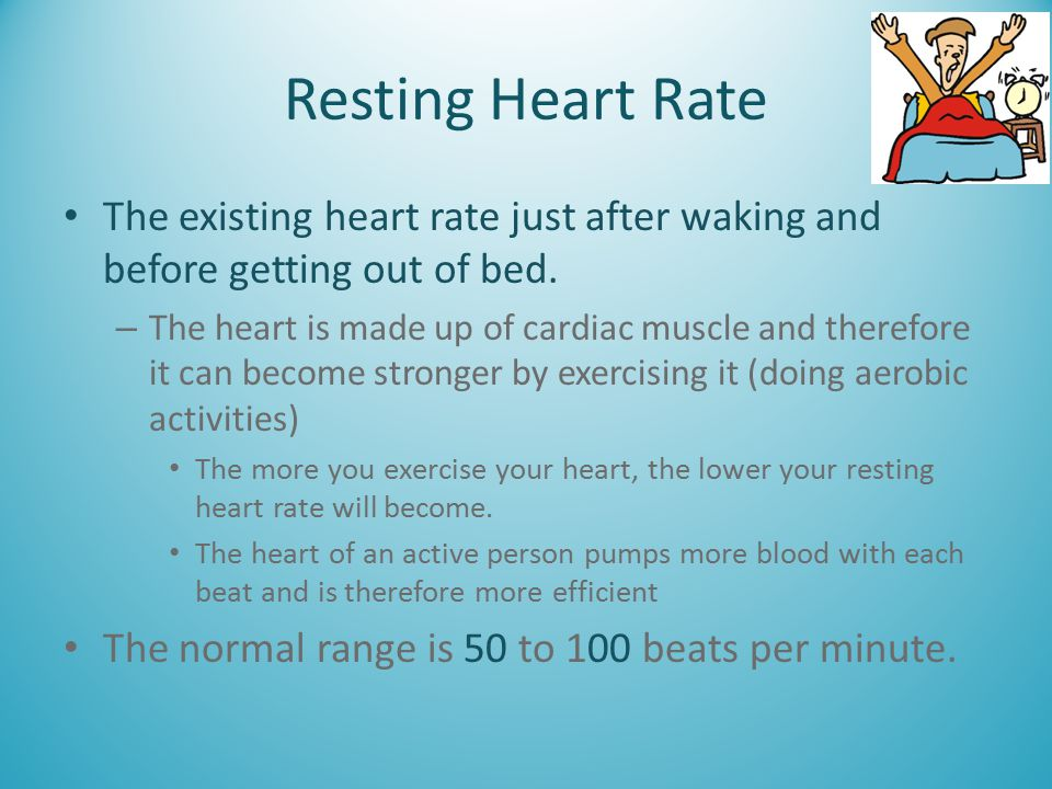Resting Heart Rate The existing heart rate just after waking and before getting out of bed. – The heart is made up of cardiac muscle and therefore it