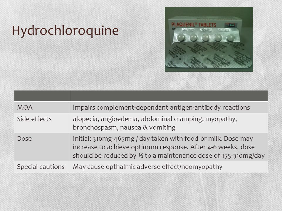Hydrochloroquine MOAImpairs complement-dependant antigen-antibody reactions Side effectsalopecia, angioedema, abdominal cramping, myopathy, bronchospasm, nausea & vomiting DoseInitial: 310mg-465mg / day taken with food or milk.