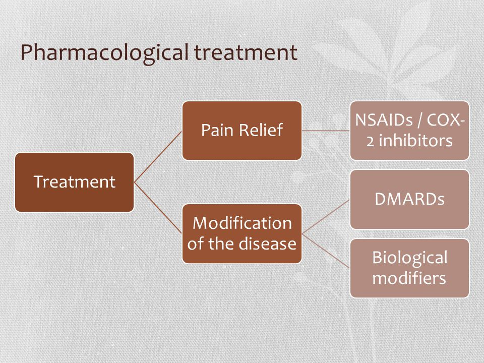 TreatmentPain Relief NSAIDs / COX- 2 inhibitors Modification of the disease DMARDs Biological modifiers Pharmacological treatment