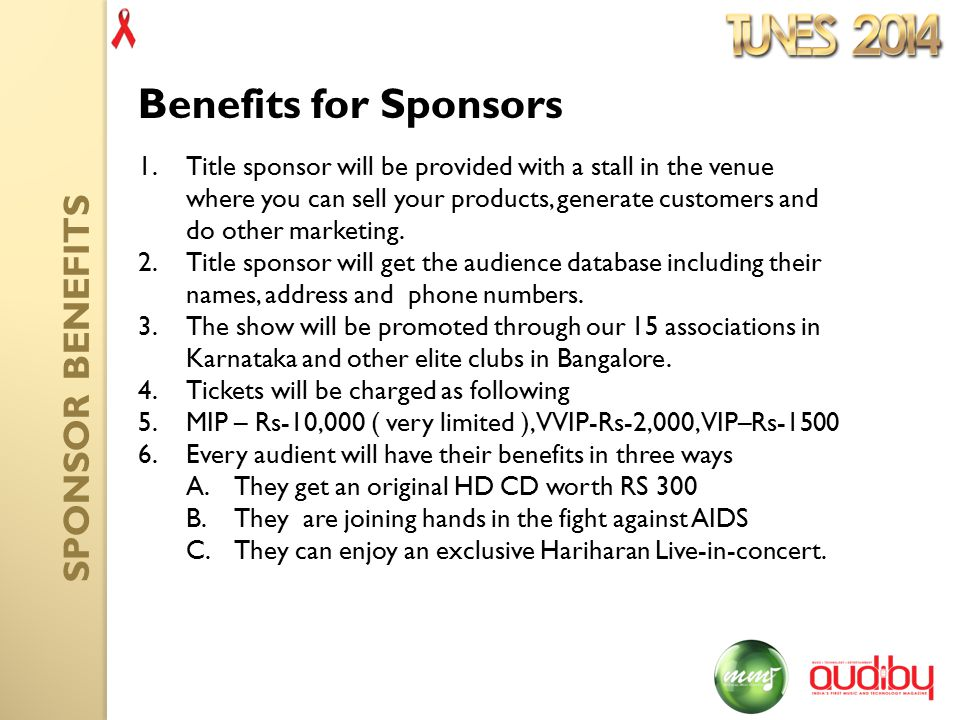 1.Title sponsor will be provided with a stall in the venue where you can sell your products, generate customers and do other marketing.