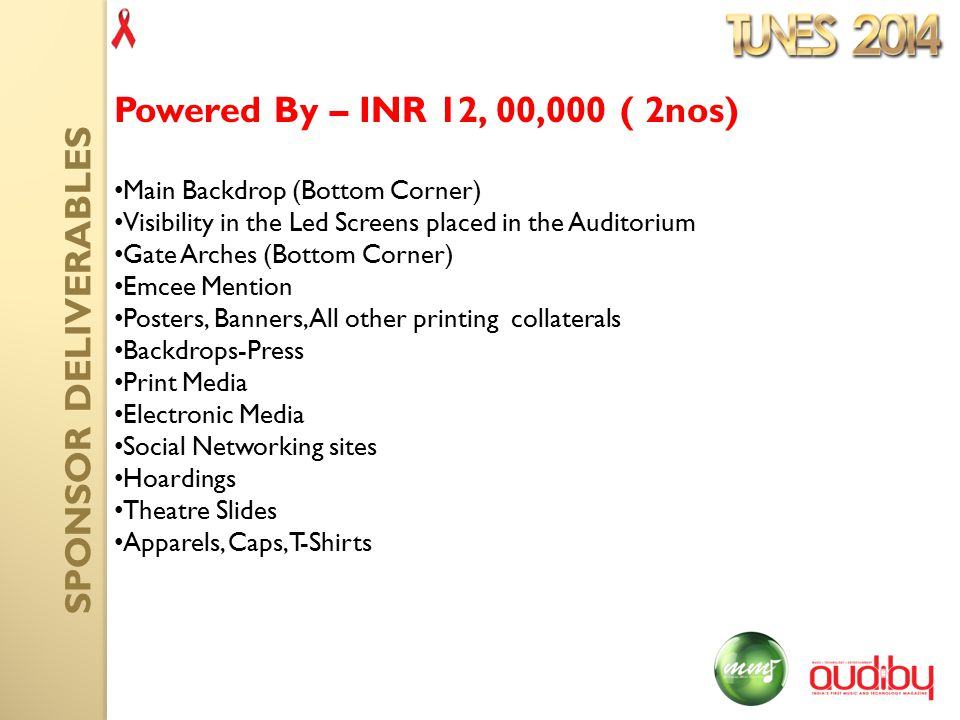 Main Backdrop (Bottom Corner) Visibility in the Led Screens placed in the Auditorium Gate Arches (Bottom Corner) Emcee Mention Posters, Banners, All other printing collaterals Backdrops-Press Print Media Electronic Media Social Networking sites Hoardings Theatre Slides Apparels, Caps, T-Shirts Powered By – INR 12, 00,000 ( 2nos) SPONSOR DELIVERABLES