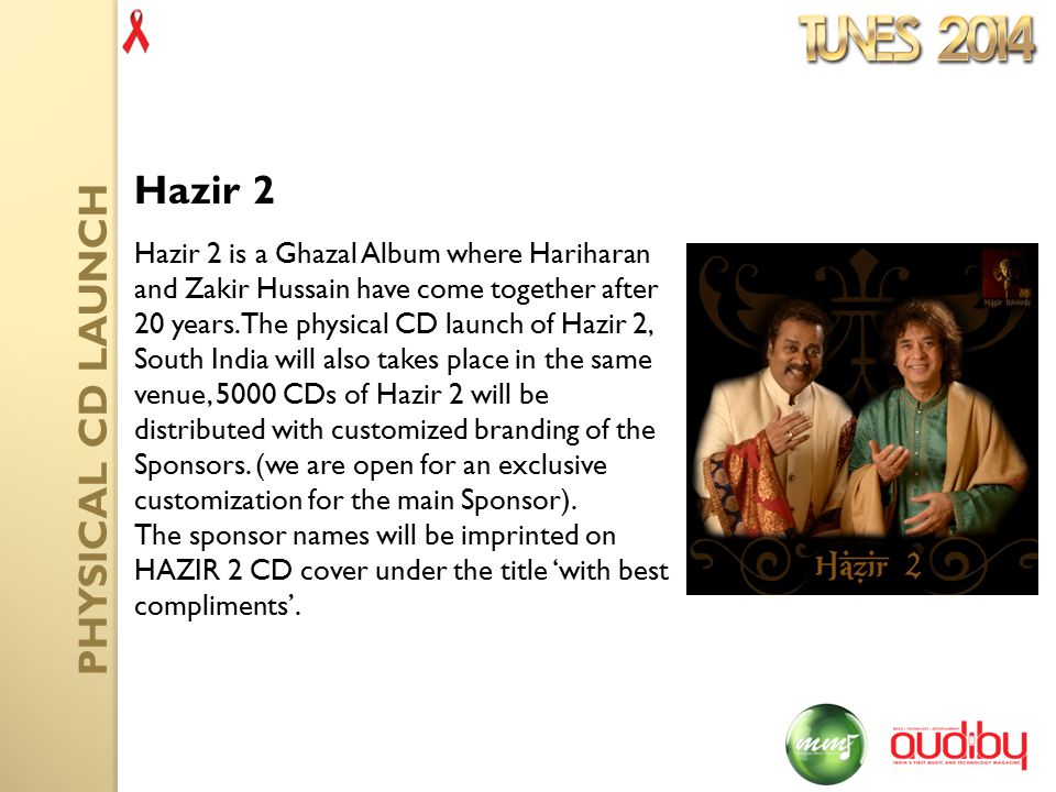 Hazir 2 is a Ghazal Album where Hariharan and Zakir Hussain have come together after 20 years.
