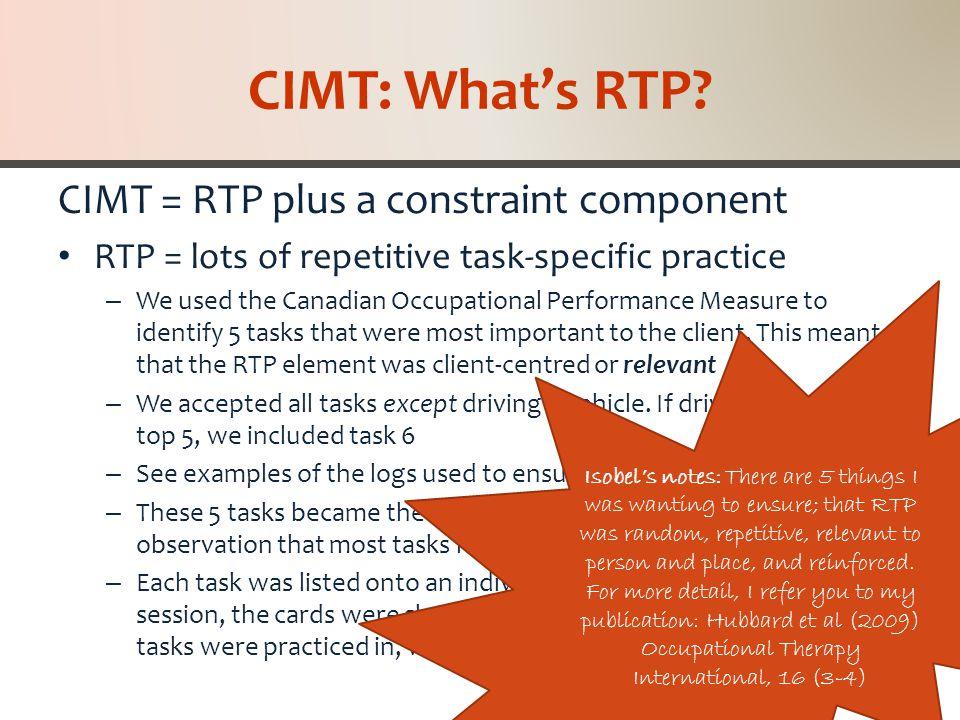 CIMT: What's the Constraint.