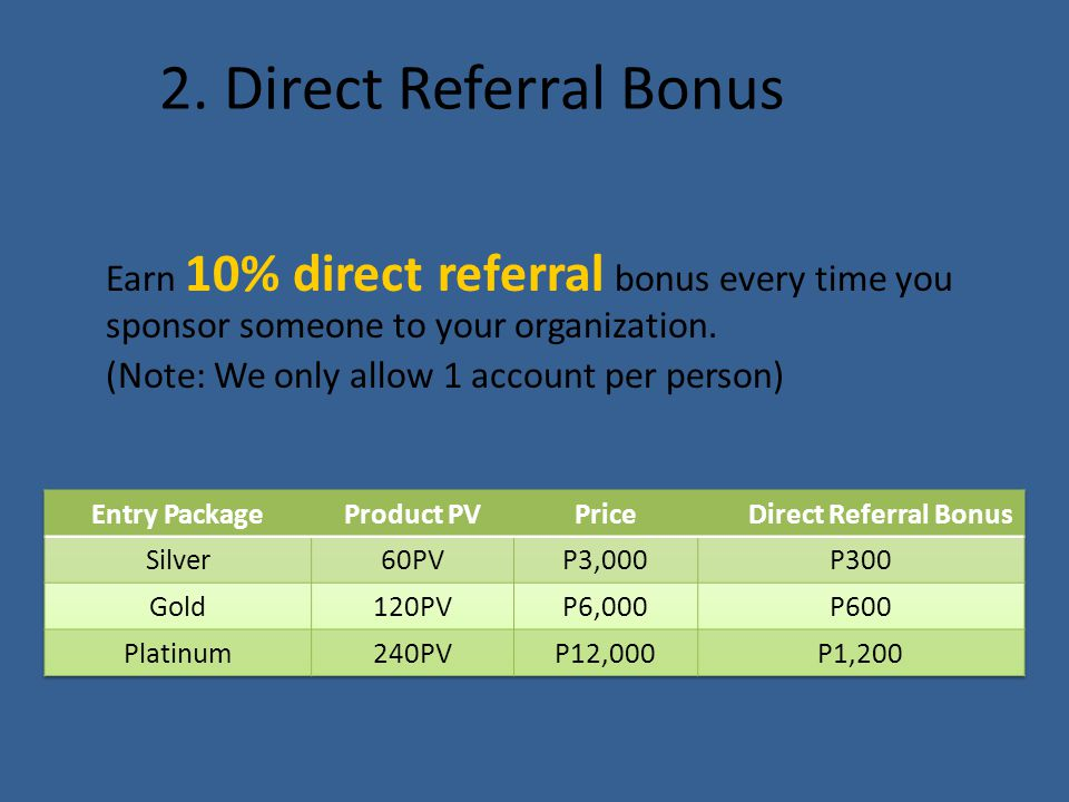 2. Direct Referral Bonus Earn 10% direct referral bonus every time you sponsor someone to your organization. (Note: We only allow 1 account per person