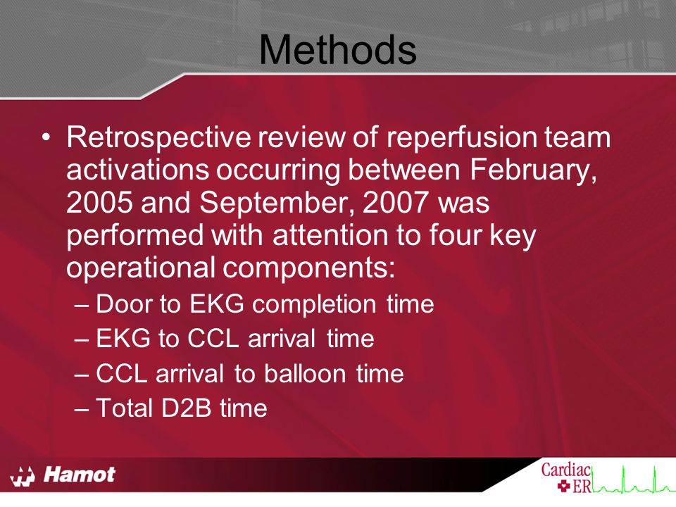 Methods Retrospective review of reperfusion team activations occurring between February, 2005 and September, 2007 was performed with attention to four