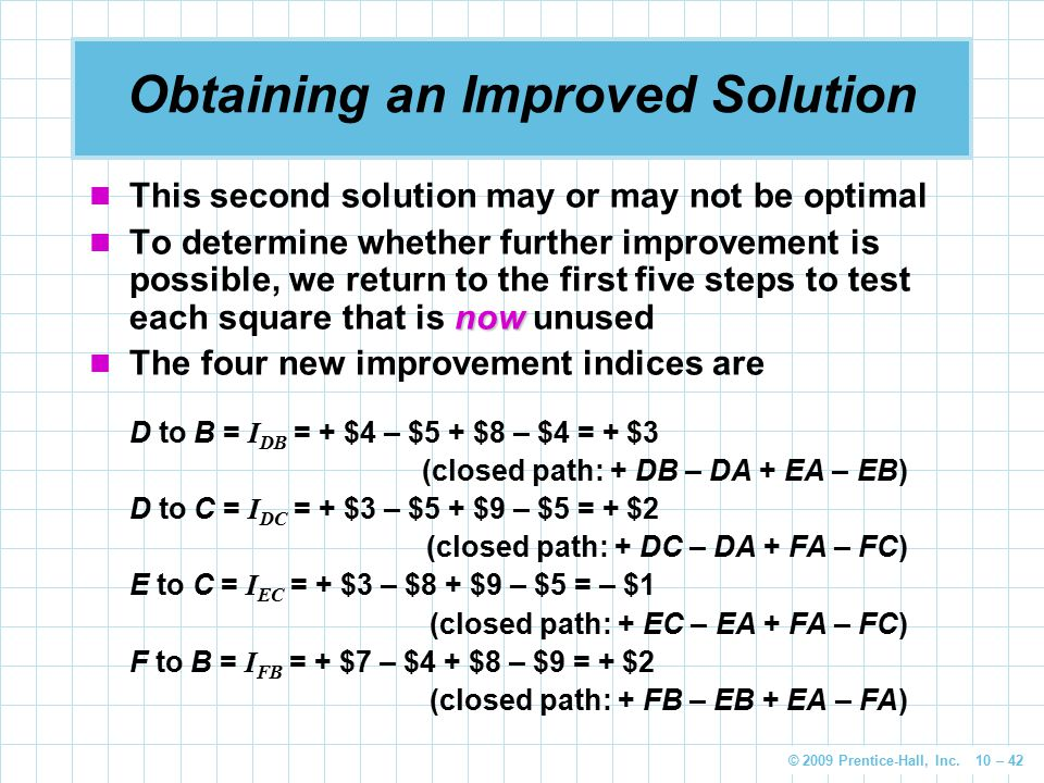 © 2009 Prentice-Hall, Inc. 10 – 42 Obtaining an Improved Solution This second solution may or may not be optimal now To determine whether further impr