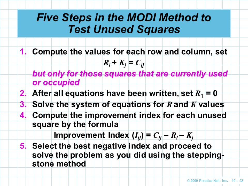 © 2009 Prentice-Hall, Inc. 10 – 52 Five Steps in the MODI Method to Test Unused Squares 1.Compute the values for each row and column, set R i + K j =