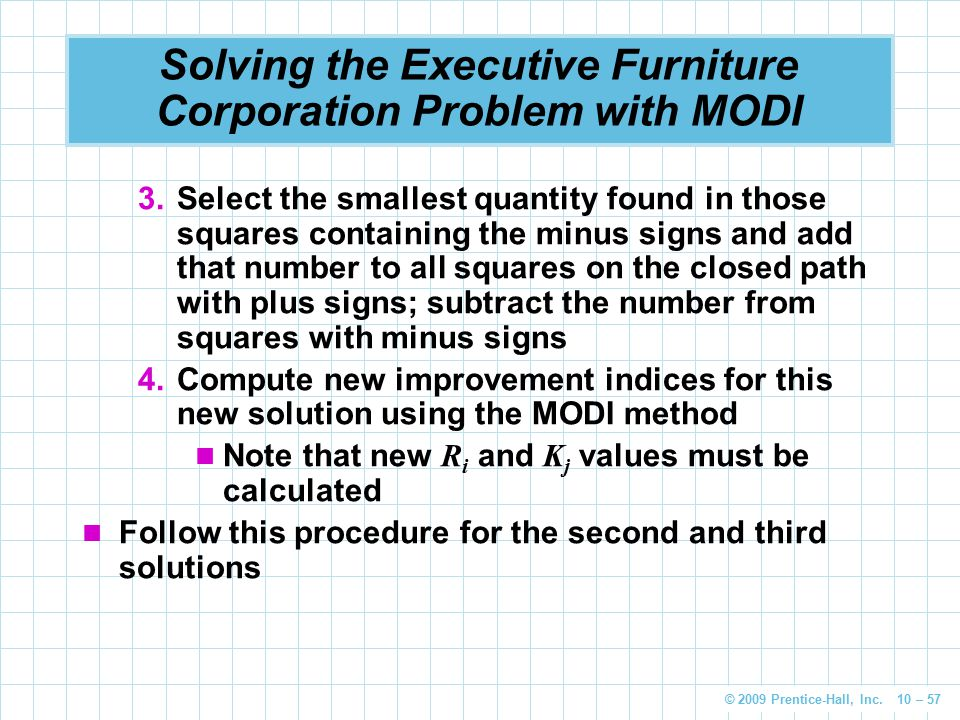 © 2009 Prentice-Hall, Inc. 10 – 57 Solving the Executive Furniture Corporation Problem with MODI 3.Select the smallest quantity found in those squares