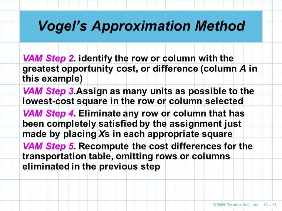 © 2009 Prentice-Hall, Inc. 10 – 61 Vogel's Approximation Method VAM Step 2 VAM Step 2. identify the row or column with the greatest opportunity cost,